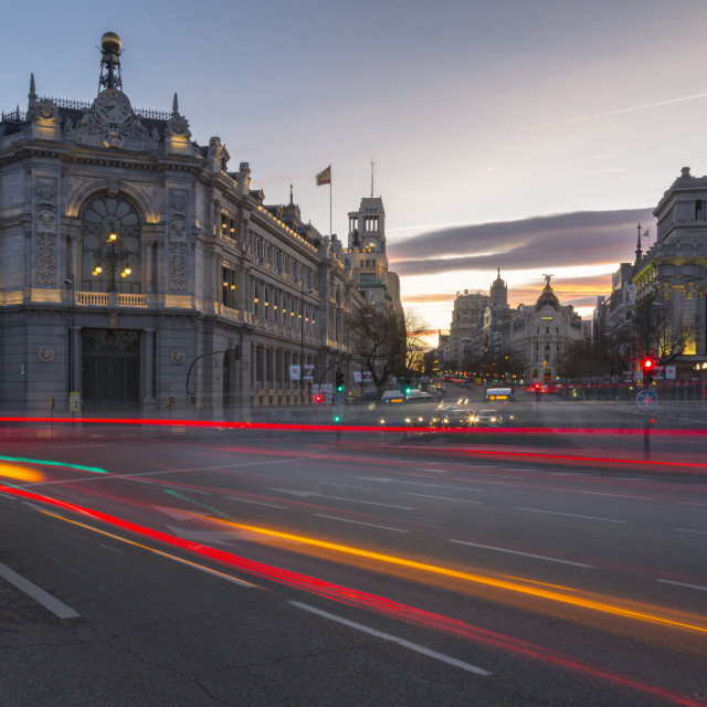 """""""View of trail lights on Calle de Alcala and the entry to Gran Via at dusk,..."""" stock image"""