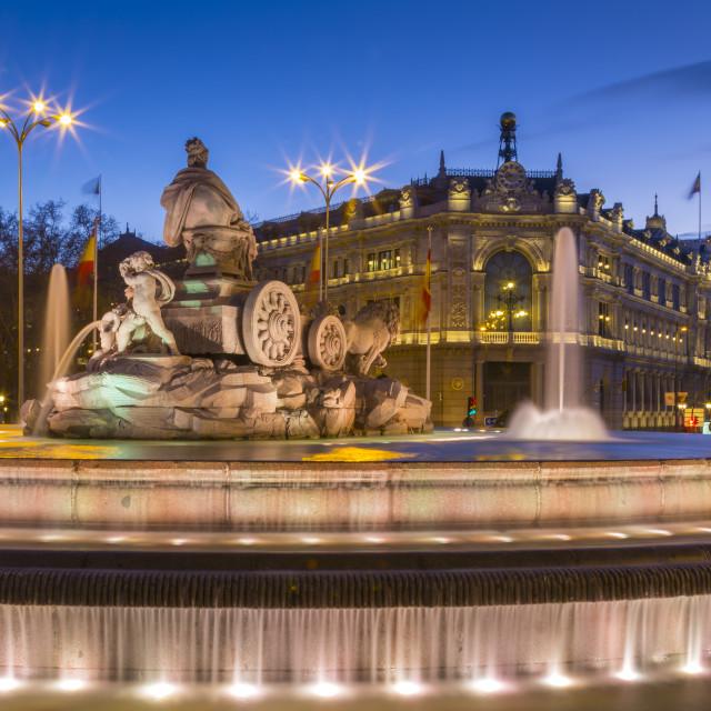 """View of Cibeles Fountain in Plaza Cibeles and Calle de Alcala at dusk,..."" stock image"