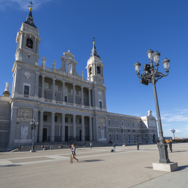 """""""View of Madrid Cathedral on bright sunny morning, Madrid, Spain, Europe"""" stock image"""