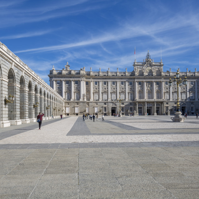 """""""View of Royal Palace on bright sunny morning, Madrid, Spain, Europe"""" stock image"""