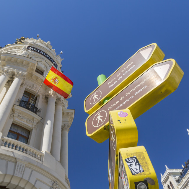 """""""View of sign and Metropolois on Gran Via, Madrid, Spain, Europe"""" stock image"""