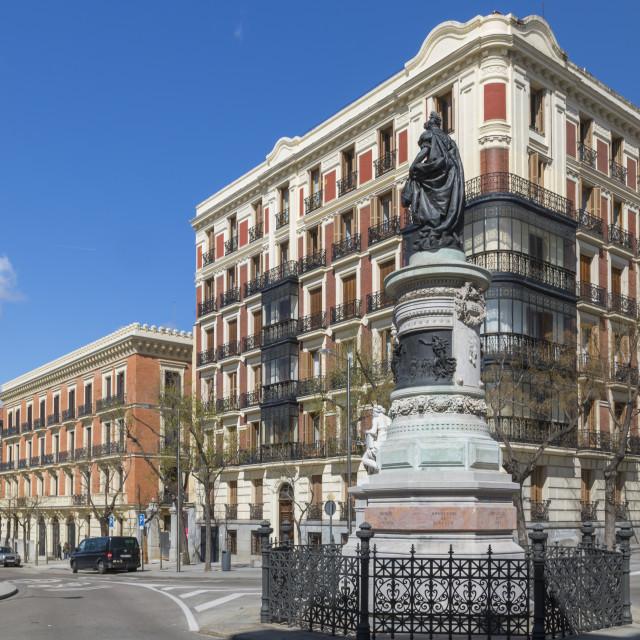 """Estatua María Cristina de Borbón statue and architecture in Calle de..."" stock image"