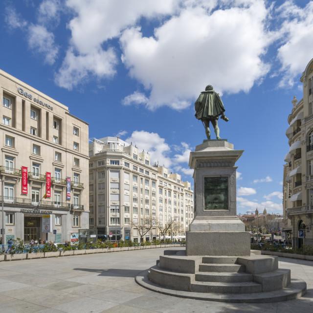 """View of Michaeli de Gervantes statue in Plaza de las Cortes, Madrid, Spain,..."" stock image"