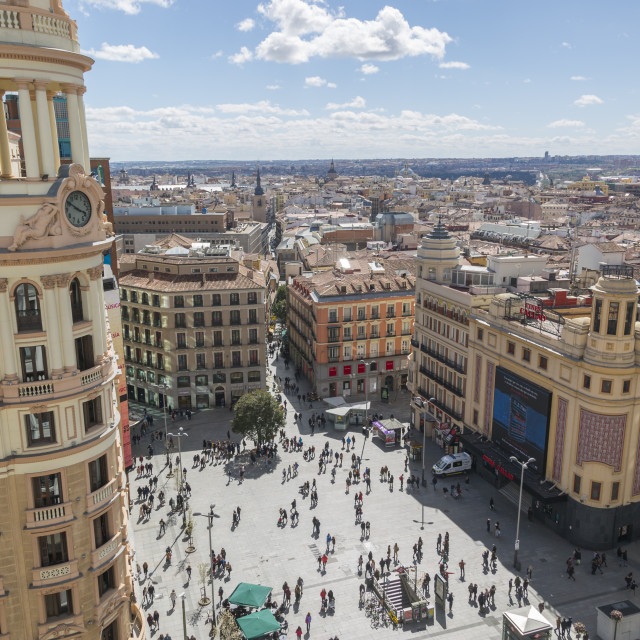 """""""View of Plaza del Calao from elevated position, Madrid, Spain, Europe"""" stock image"""