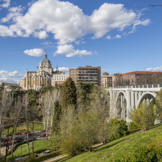 """""""View of Madrid Cathedral on bright sunny day, Madrid, Spain, Europe"""" stock image"""