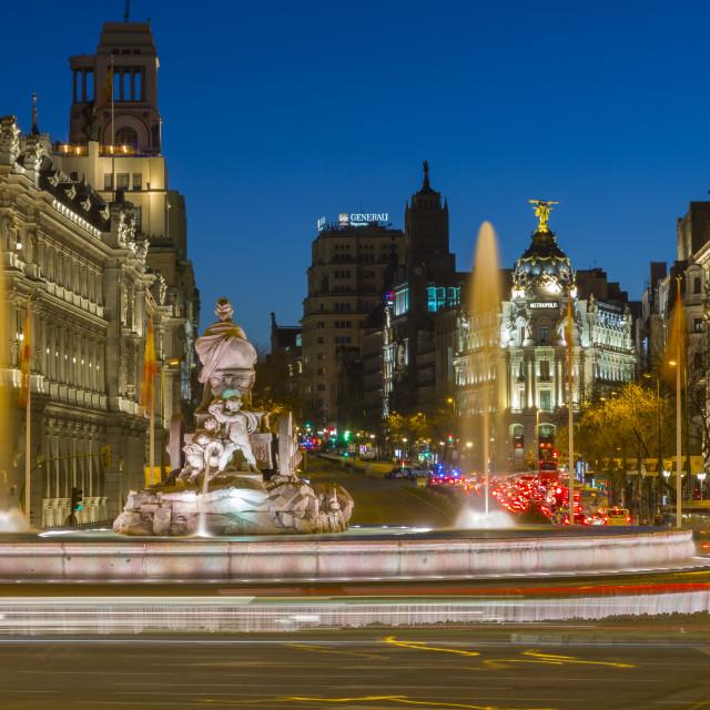 """View of Cibeles Fountain in Plaza Cibeles at dusk, Madrid, Spain, Europe"" stock image"