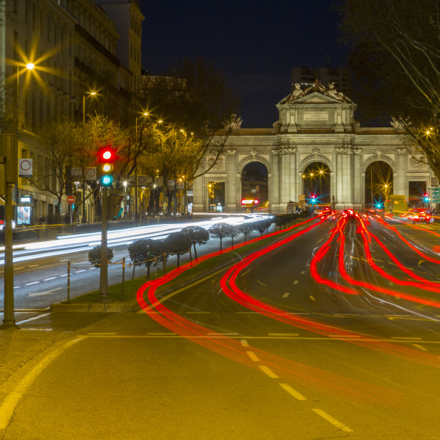 """""""View of Triomphal Arch in Plaza de la Independance at dusk, Madrid, Spain,..."""" stock image"""