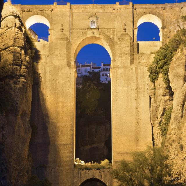 """Puente Nuevo new bridge floodlit at night, Ronda, Andalucia, Spain, Europe"" stock image"