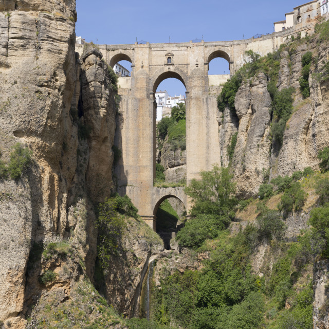 """""""Puente Nuevo new bridge and the white town perched on cliffs, Ronda,..."""" stock image"""