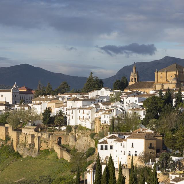 """View over the old white town and the Iglesia de Santa Maria la Mayor, Ronda,..."" stock image"