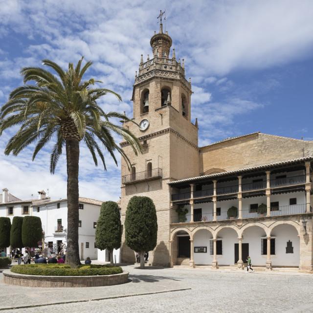 """Iglesia de Santa Maria la Mayor in the Plaza Duquesa de Parcent Town Hall..."" stock image"