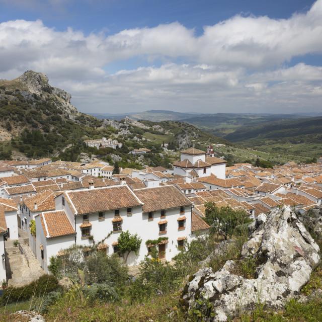 """View over Andalucian white village, Grazalema, Sierra de Grazalema Natural..."" stock image"