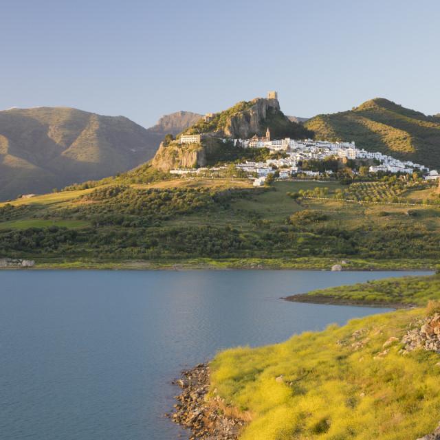 """Moorish castle above white village and reservoir, Zahara de la Sierra, Sierra..."" stock image"