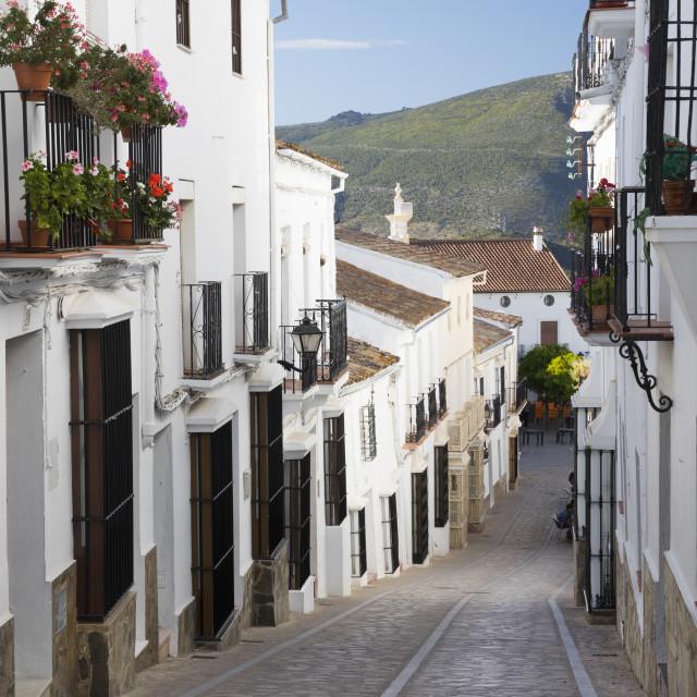 """""""Narrow street in Andalucian white village, Zahara de la Sierra, Sierra de..."""" stock image"""