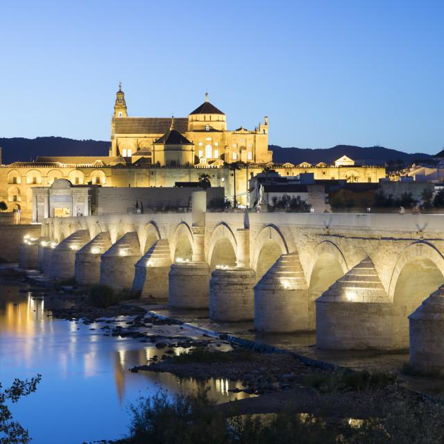 """The Mezquita and Roman Bridge over the river Guadalquivir floodlit at night,..."" stock image"