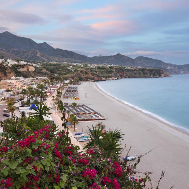 """Sunset view over Nerja Playa Burriana beach, Nerja, Malaga Province, Costa..."" stock image"