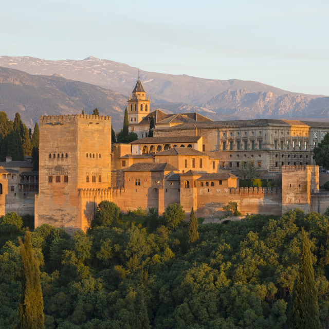 """""""The Alhambra and Sierra Nevada mountains in evening light from mirador de San..."""" stock image"""