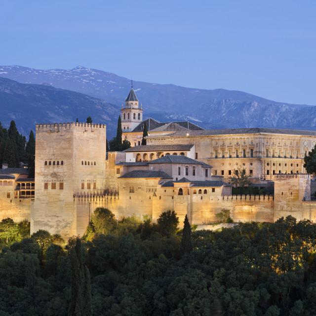 """The Alhambra and Sierra Nevada mountains from mirador de San Nicolas,..."" stock image"