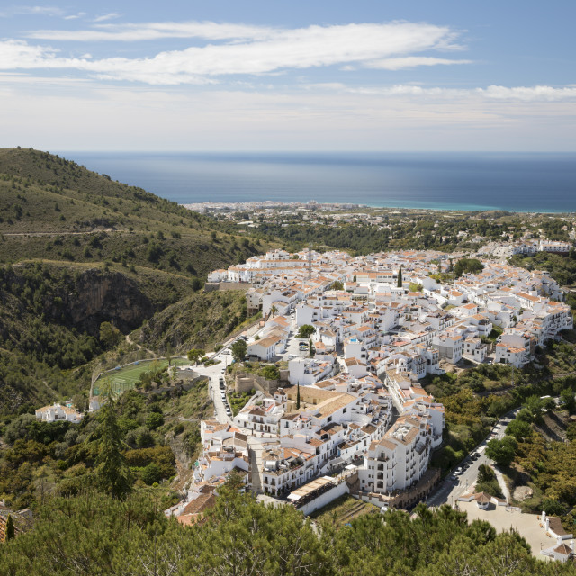 """""""View over white Andalucian village with view to the sea, Frigiliana, Malaga..."""" stock image"""