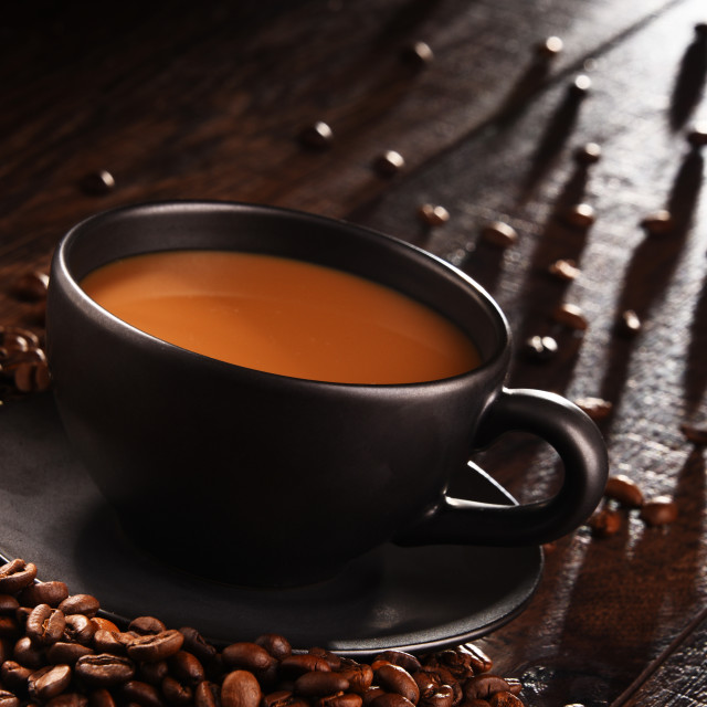 """""""Composition with cup of coffee and beans"""" stock image"""