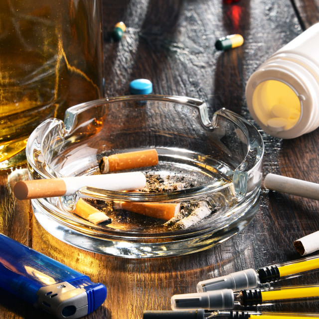 """""""Addictive substances, including alcohol, cigarettes and drugs"""" stock image"""