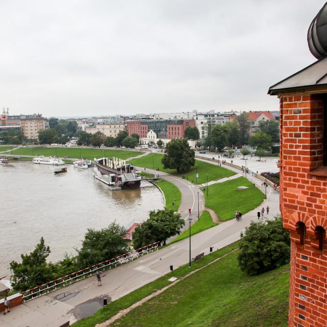 """""""View to Wisla river Wawel Royal Castle in Krakow"""" stock image"""
