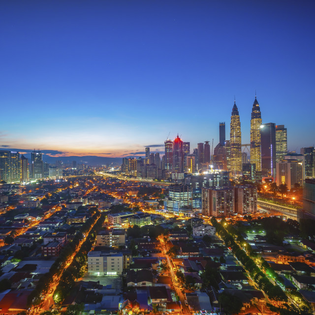 """Aerial view of sunrise at Kuala Lumpur city skyline"" stock image"