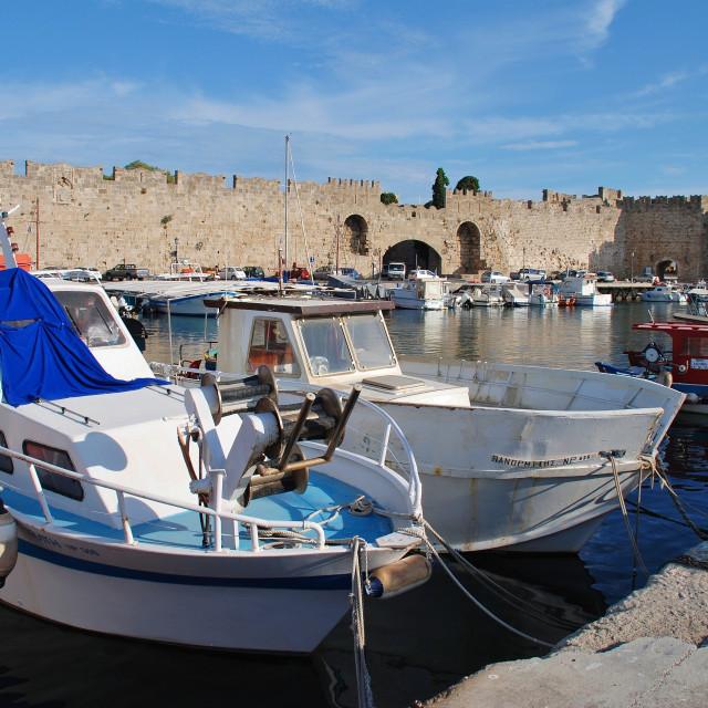 """""""Boats at Kolona, Rhodes"""" stock image"""