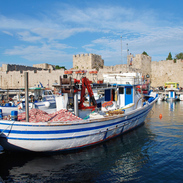 """Kolona harbour, Rhodes"" stock image"