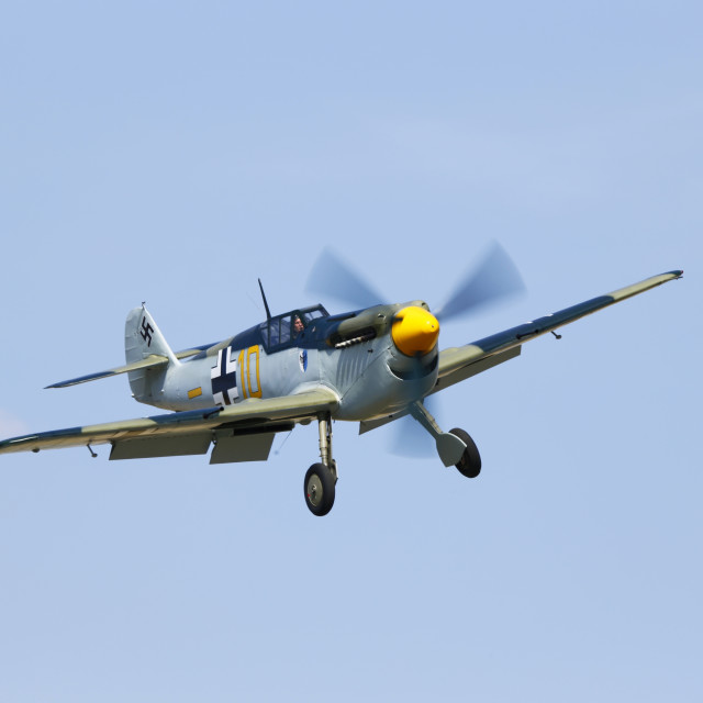 """Hispano Buchon Yellow 10 landing"" stock image"