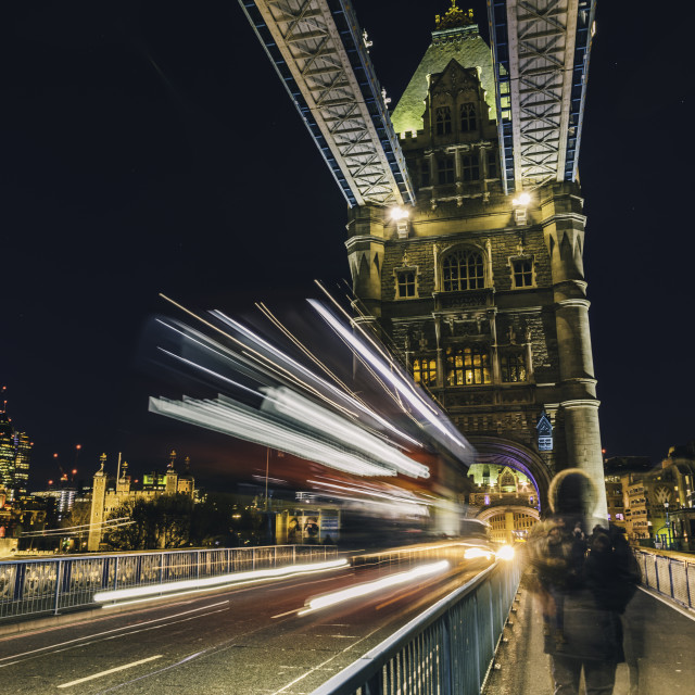 """The Double Decker on Tower Bridge"" stock image"