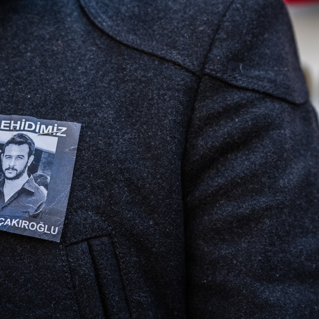 """""""Protests over the death of nationalist student Fırat Cakiroglu"""" stock image"""