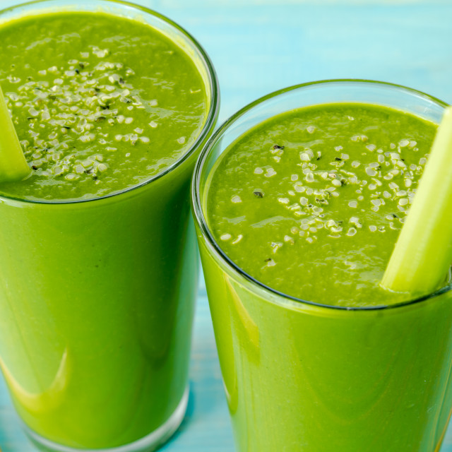 """Green detox spinach kale smoothies"" stock image"