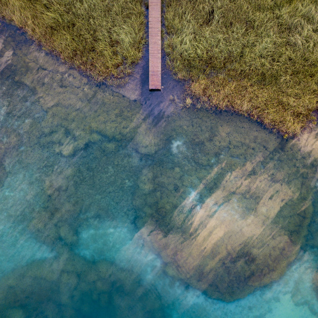 """Pier in a lake in Spain"" stock image"
