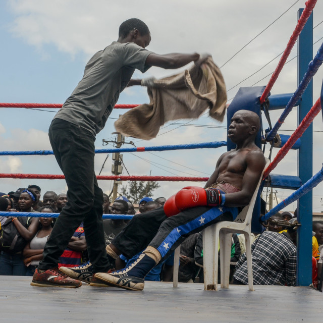 """Youths battle for peace through boxing"" stock image"