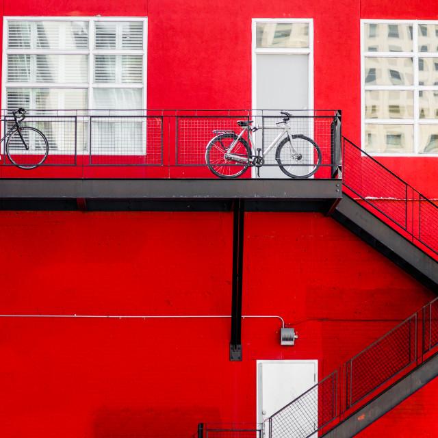 """Bikes on a balcony"" stock image"