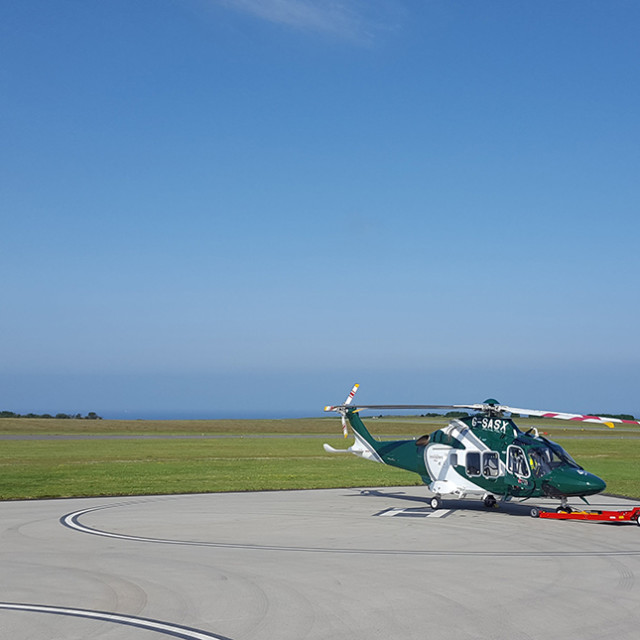 """Helicopter at St Mary's, Isles of Scilly"" stock image"