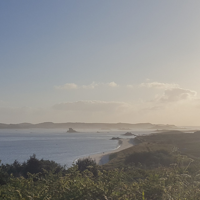 """Sunset over Isles of Scilly"" stock image"