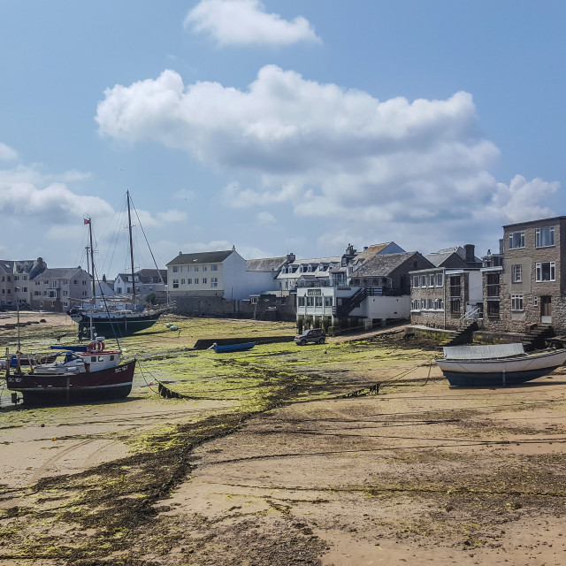"""Low tide at Hugh Town, St Mary's"" stock image"