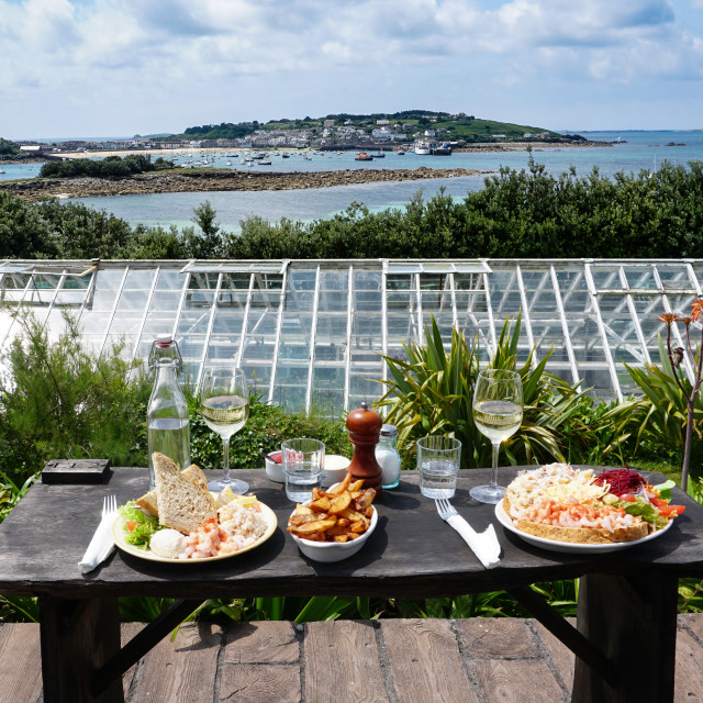 """A seafood supper, Isles of Scilly"" stock image"