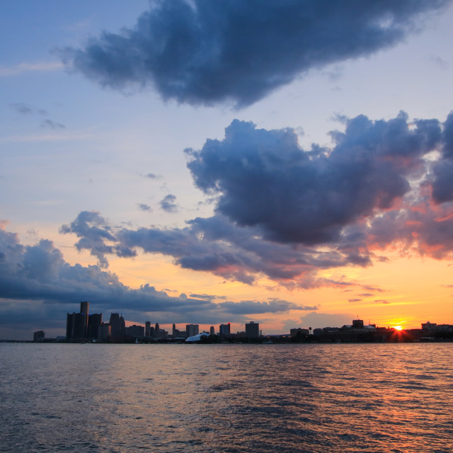 """Sunset over Detroit"" stock image"