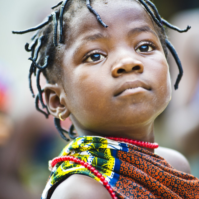 """Girl in Ganvie stilt village, Benin,West Africa."" stock image"