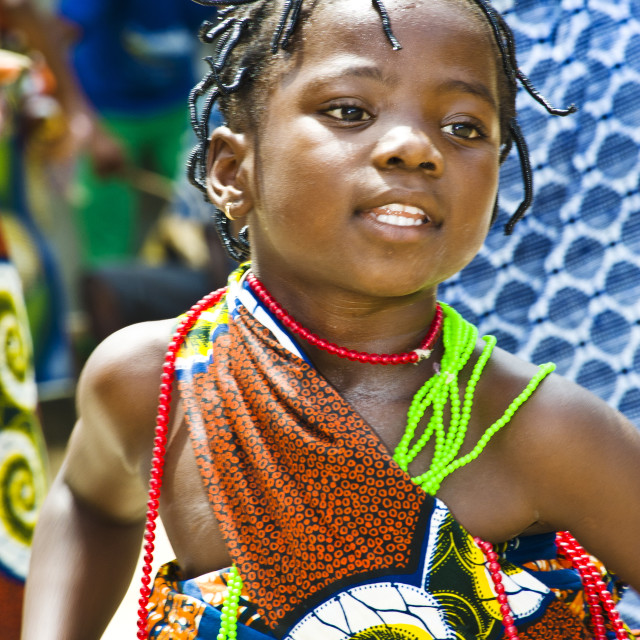"""Girl in stilt village, Ganvie, Benin, West Africa."" stock image"