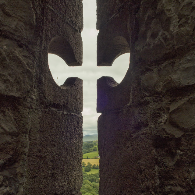 """""""View through loophole in medieval castle"""" stock image"""