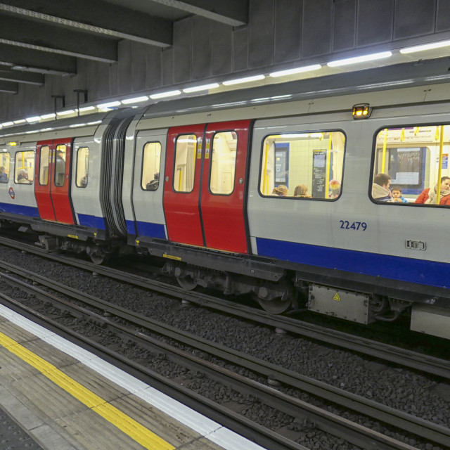 """Inside a London underground"" stock image"