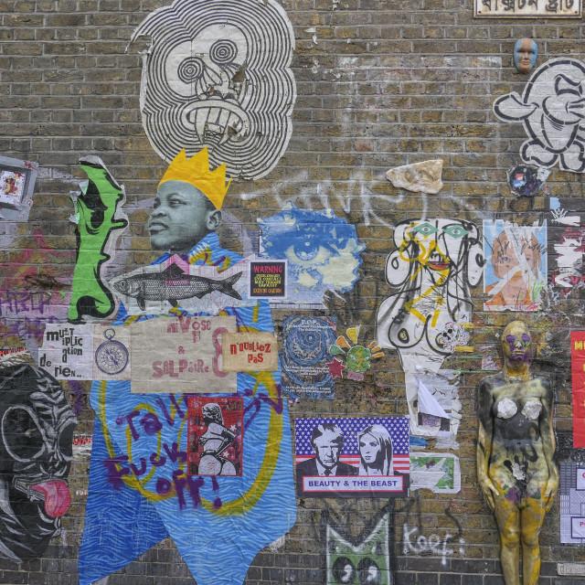 """Street art on Brick lane in London"" stock image"