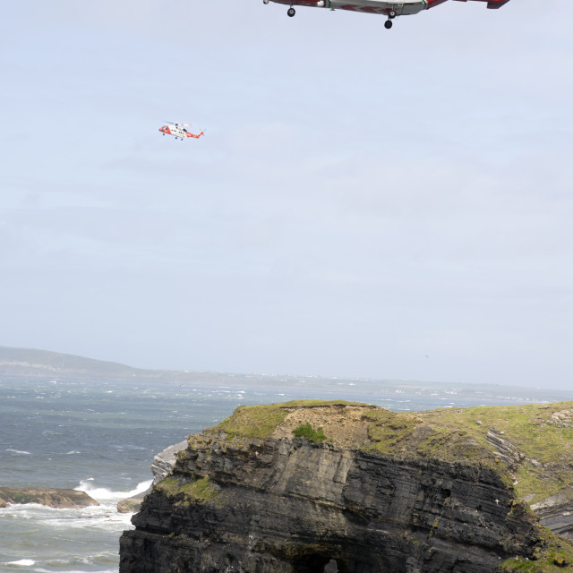 """""""two irish search and rescue helicopters at the virgin rock"""" stock image"""