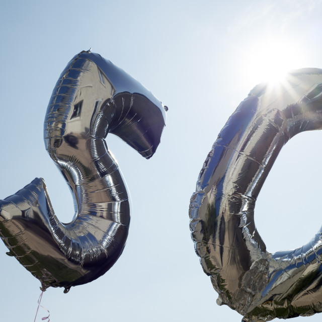 """""""two silver balloons for a 50th"""" stock image"""