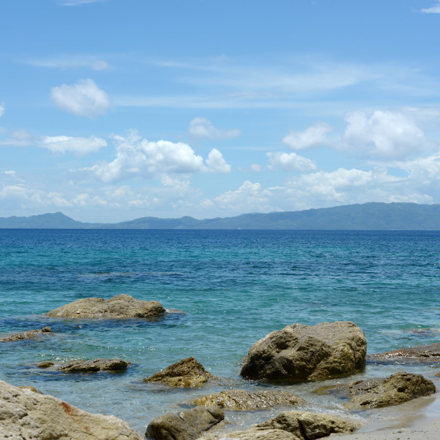 """""""view of the mountains and islands from puerto galera"""" stock image"""
