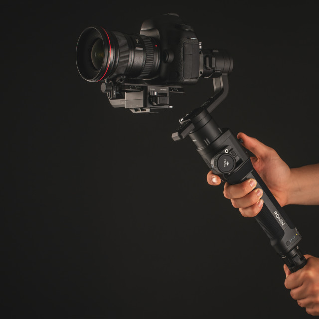 """DJI Ronin-S isolated on black."" stock image"